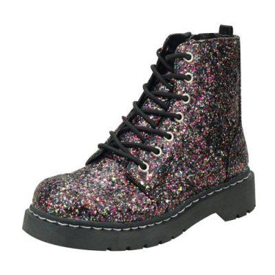 vegan combat boots glitter